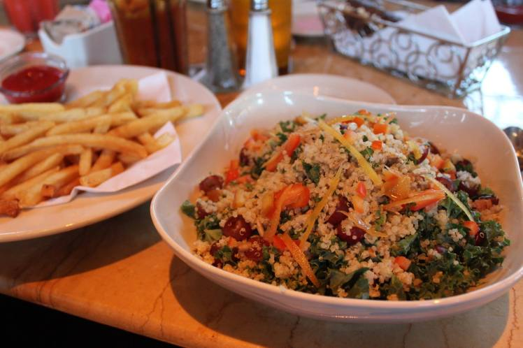 Modified Quinoa & Kale Salad with gluten free fries