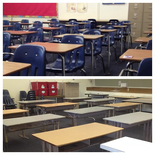 Last year's desks to what I found in my classroom this year.