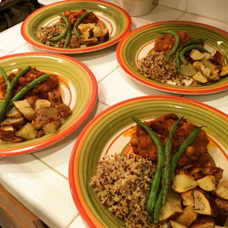 Pumpkin chickpea chili, roasted rosemary garlic potatoes, quinoa, and green beens