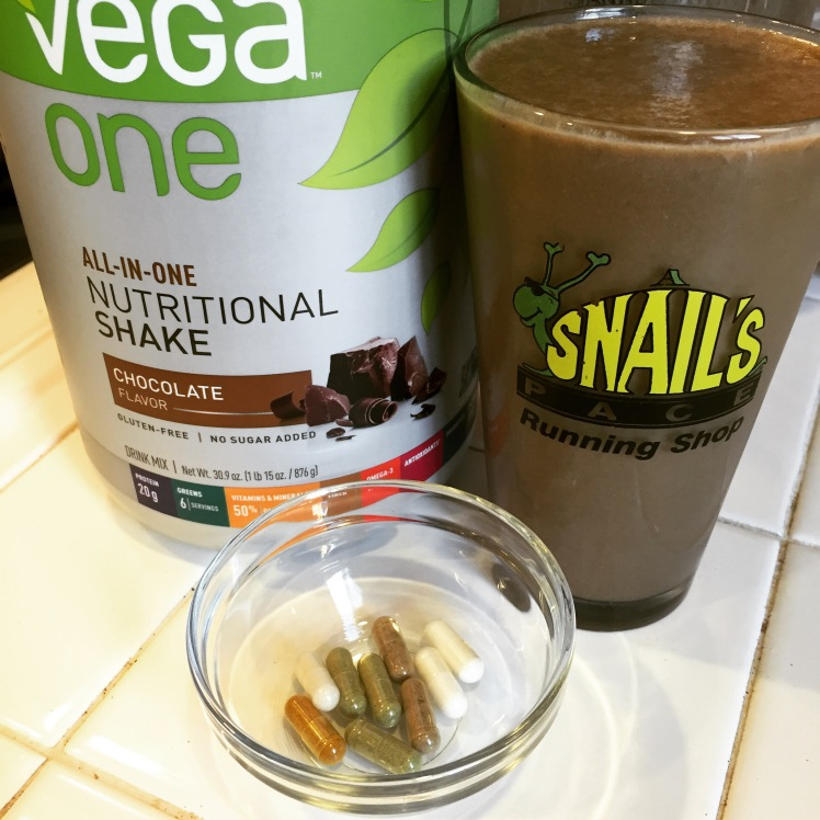 Here's my typical breakfast: Vega One and my supplements.