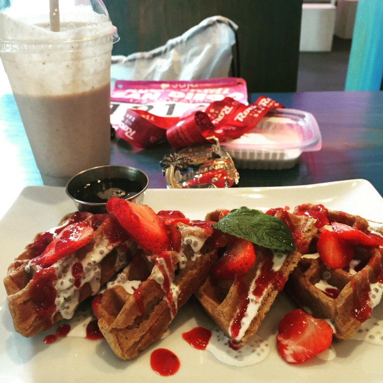 Gluten free, vegan waffles w/ coconut cream & strawberries and a 20 oz. Hunky Monkey